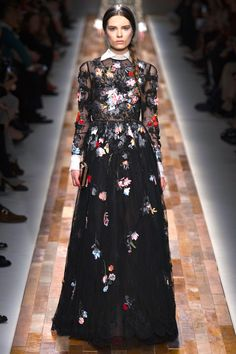 Valentino fall 2013 sheer black print gown with contrast white collar