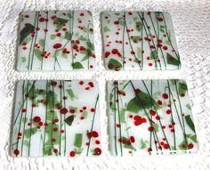 Fused glass coasters in Christmas colors by cottagebreezeglass, $25.00