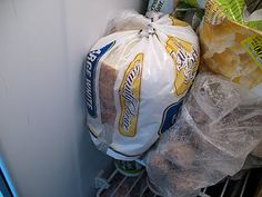 When freezing sandwiches for school lunches, put them in their individual baggies and then stack those BACK in the bread bag for an easy way to store in the freezer. Same goes for big bags of chips that you've portioned out: put the smaller baggies back into the original bag for a space saver!