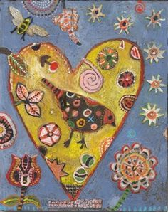 """Yellow Heart Brown Bird"" Jill Mayberg Archival Print"