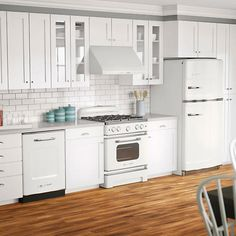 Big Chill 4 Piece Retro-Styled Kitchen Suite with 33 in. 20.6 cu.ft Top Mount Refrigerator - White