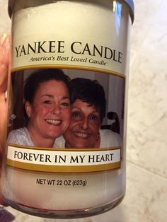 """""""I lost my Mom very suddenly in September and I miss her everyday. But, I received this beautiful candle from my bff for Christmas and it is something I will always treasure. Thank you offering personalized candles. It is, by far one of the most thoughtful gifts I have ever gotten."""""""