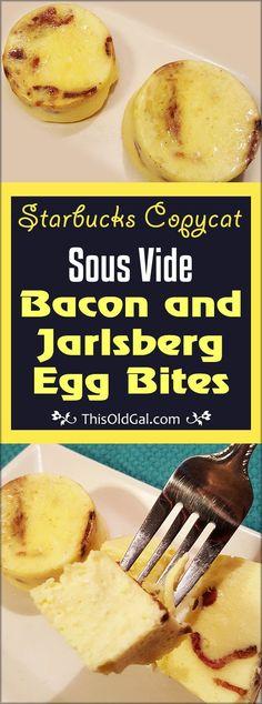 Inspired by Starbuck's Popular Bacon and Gruyere Egg Bites, these Sous Vide Bacon and Jarlsberg Egg Bites won't break the bank. via @thisoldgalcooks