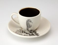 Laura Zindel Design - Espresso Cup and Saucer: Sea Horse, Sea Weed - Sea Life - Collections