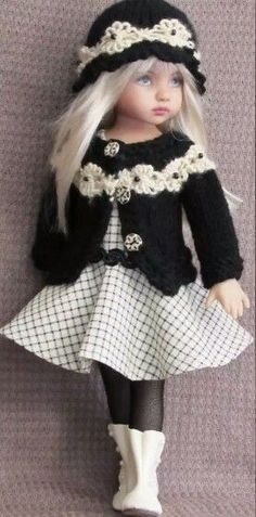 Handmade sweater and dress set made for Effner Little Darling doll: