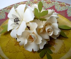 6 Small handmade paper flower centerpieces by DragonflyExpression
