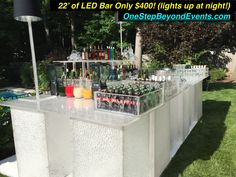 New Style Backyard Wedding Ideas are Spectacular! Draping the backyard with colored downlighting is Amazing & adds a breathtaking Glow! Our Light Up LED table & LED Bar rentals are Beautiful! No more String or Market Lights! 14' tall Truss' with powerful LED lighting rentals are beyond description! Legless Panton Chair Rentals don't sink in the ground! Event Lounge Furniture. 6' tall Light Up Chandelier Centerpieces. White Dance Floors.  In Orlando & decorate all of Florida! 407-234-9937 Glow Table, Light Table, Led Furniture, Lounge Furniture, Uv Black Light, Light Up, Disco Theme Parties, Chandelier Centerpiece, Prom Decor
