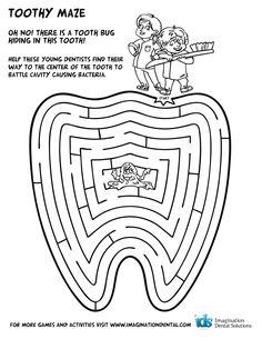 tooth maze printable for kids! Dental Kids, Kids Dentist, Dental Care, Dental Health Month, Oral Health, Health Education, Dental Hygiene Education, Oral Hygiene, Kids Health