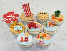 Beach Themed Birthday Cupcakes by The Clever Little Cupcake Company (Amanda), via Flickr