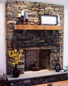 stacked stone fireplace | Barnes Stone Masonry, Inc.| Fireplaces and Chimneys | Dry Stacked