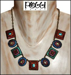 VINTAGE FRENCH SIGNED POGGI PARIS BRONZED METAL MULTI COLOR RHINESTONE NECKLACE in Jewelry & Watches, Vintage & Antique Jewelry, Costume, Designer, Signed, Necklaces & Pendants | eBay
