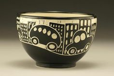 City Scene Bowl: Jennifer Falter: Ceramic Bowl - Artful Home