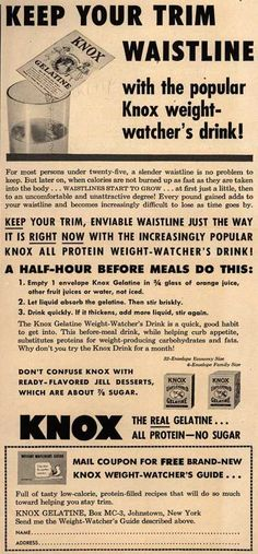 Knox Gelatine – Keep your trim waistline with the popular Knox weight-watcher's drink (1954)