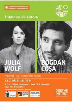 Întâlnire cu autorii Julia Wolf (Berlin) și Bogdan Coșa (București), la BCU Iași Wolf, Romania, Berlin, Literature, Culture, Germany, Reading, Wolves, Timber Wolf