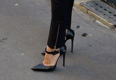 pointed toe black stilettos. no platform, closed toe, ankle strap= perfect