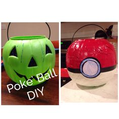 Plastic pumpkin turned Poke' ball. Duct tape, masking tape, electrical tape, and card stock. Took less than 10 minutes to do.  The first step in my son's Pokemon Ash Halloween costume.