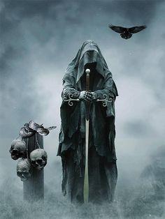Dark Fantasy is the Best Fantasy Grim Reaper Art, Grim Reaper Tattoo, Don't Fear The Reaper, Dark Fantasy Art, Fantasy World, Dark Art, Neck Tatto, Arte Horror, Angels And Demons