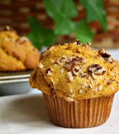 Jane's Sweets & Baking Journal ~ Fluffy Pumpkin Muffins with Coconut and Pecans . . . Get a Handle on Your Pumpkin!