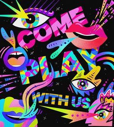 Everyone can win. As long as you are bright and full of color, come on in. Pink is always pretty and blue has beauty too. Green is dating yellow cuz together they make blue. Colors spark excitement, they fill our brain with joy. Graffiti Lettering, Graffiti Art, Graphic Design Illustration, Digital Illustration, Neon Wallpaper, Mural Wall Art, Colorful Pictures, Art Lessons, Pop Art