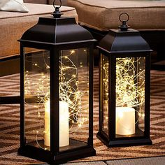 Round out the lighting scheme with accents. They're as easy as adding an LED candle and a nest of battery-operated string lights to lanterns. And don't limit this decor to Christmas - wind battery-operated string lights through trellises or around gazing Ramadan Decoration, Decoration Evenementielle, Light Decorations, Wedding Decorations, Table Decorations, Balcony Decoration, Balcony Ideas, Balcony Design, Christmas Lanterns