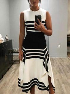 Contrast Stripes Splicing Irregular Hem Dress