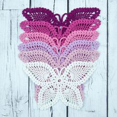 Ships after Jan Egg apron chicken accessories, egg collecting apron, handmade crochet egg apron, adult size Crochet Butterfly Free Pattern, Crochet Flower Patterns, Crochet Stitches Patterns, Crochet Motif, Crochet Designs, Crochet Doilies, Crochet Flowers, Crochet Lace, Butterfly Template