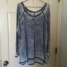 Long sleeve oh so soft cotton knit tee This distressed looking top is so soft you will love the feel. Lane Bryant Tops Tees - Long Sleeve
