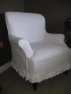 Custom Slipcovers by Shelley: white linen couch and chair