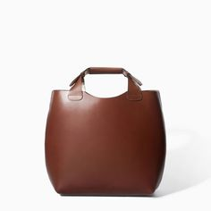 ZARA - WOMAN - LEATHER SHOPPER WITH LAMINATED INTERIOR