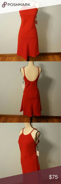 Calvin Klein Sexy Crimson Red Dress Calvin Klein Sexy Crimson Red Dress. New with tags, size 12.  This simply, sexy dress will compliment any wardrobe. Its versatility easily transitions from office to nightwear.  Approximate measurements: 42 inches Total Length 36 inches Bust Around 34 inches Waist 38 inches Hip Around Calvin Klein Dresses