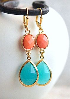 Turquoise and Coral Bridesmaids Earrings. Beach Wedding Jewelry. Bridal Party Gift Ideas.