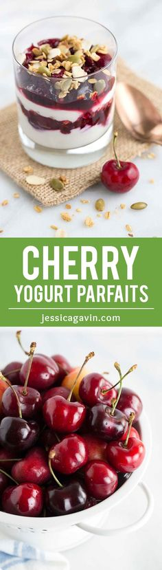 Cherry Yogurt Parfaits with Crunchy Granola - A healthy and simple breakfast solution! Two ingredient fresh cherry compote is layered with creamy yogurt and granola.   jessicagavin.com