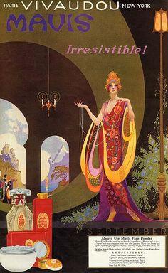 Mavis Irresistible! Face powder ad. Circa 1920.