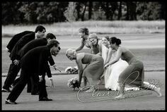 Rugby themed wedding photo