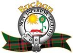 """Buchan Clan Tartan the Crest """"Upon a chapeau Gules furred Ermine, a sun shining upon a sunflower full blown Proper"""". Buchan Clan Motto is """"Non inferior secutus"""", translated as """"NOT HAVING FOLLOWED MEANS PURSUITS"""". Chief: David Buchan of Auchmacoy. MacRory Mor"""