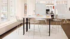 Propeller® Training Table with Bertoia Barstool and Scribe™ Mobile Markerboard