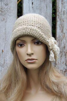 Crochet Ecru hat Rose Handmade Cloche Hat Cloches Knit by Degra2