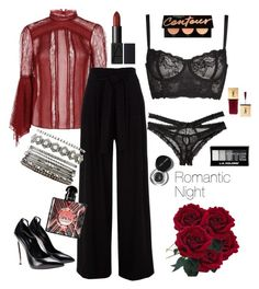 """""""Romantic Night"""" by daisy-schilder ❤ liked on Polyvore featuring Alice + Olivia, Honeydew Intimates, Naja, Charlotte Russe, Bobbi Brown Cosmetics and Yves Saint Laurent"""