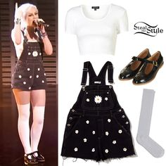 Perrie Edwards: Daisy Dungarees Outfit | Steal Her Style