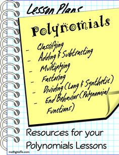 Resource Vault: Polynomials Collection of Lesson Materials - Math Giraffe Algebra Activities, Maths Algebra, Math Tutor, Math Teacher, Math Classroom, Math Resources, Teaching Math, Classroom Ideas, Math Courses