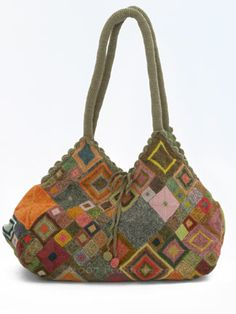 """Sophie Digard """"delicately crochets multi-colored diamonds of different sizes and brings them together in a brilliant, mosaic-like tapestry on this handbag. Love Crochet, Bead Crochet, Crochet Motif, Beautiful Crochet, Crochet Handbags, Crochet Purses, Crochet Bags, Crochet Squares, Crochet Dresses"""