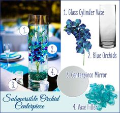 Gorgeous Blue Orchid Submersible Centerpiece. DIY Wedding easy flower arrangements. #diywedding #submersible #orchidcenterpiece #weddingflowers