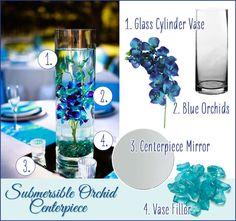 Gorgeous Blue Orchid Submersible Centerpiece. DIY Wedding easy flower arrangements. #diywedding #submersible #orchidcenterpiece #weddingflowers