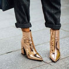 "this metallic boots and check trousers combo is perfect for Monday work styling…"" Crazy Shoes, Me Too Shoes, Women's Shoes, Shoe Boots, Mode Shoes, Shiny Shoes, Shoe Shoe, Sparkly Shoes, Footwear Shoes"