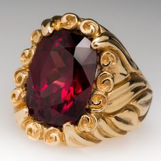 11 Carat, Non-treated Rhodolite Garnet set in solid 18K Gold Carved Ring for men.