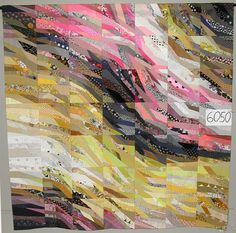 This would be good for donation quilt from scraps.The Quilt Index--Yellow River by Ursela Kern Bargello Quilts, Scrappy Quilts, Quilting Projects, Quilting Designs, Ursula, String Quilts, Textiles, Art Textile, Landscape Quilts