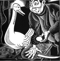 "Aesop's Fables: The Goose with the Golden Eggs. Illustrated by Boris Artzybasheff (1933). ""Greed oft o'er reaches itself."""