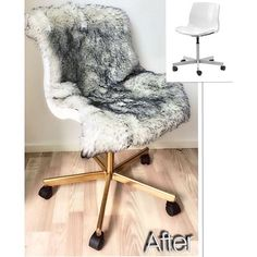 Hacking the SNILLE white swivel chair into this - sprayed gold with faux fur - cosy chair! : @madebyhanna