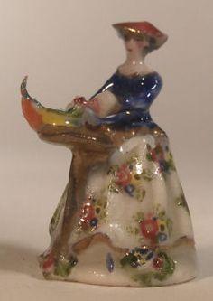 REUTTER Porcelain Mini BAROQUE LADY FIGURINE LAMP Miniature Doll House 1:12