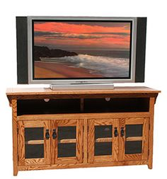 Living Room - American Mission Four Door TV Console - Mission Furniture, Rustic Furniture, Mission Oak, Tv Cabinets, Home Furnishings, Console, Wall Decor, Doors, Living Room